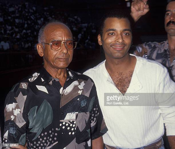 Singer Jon Secada and father Jose Secada attending 'Prayer For Liberty Benefit' on Sepember 17 1994 at the Orange Bowl in Miami Florida