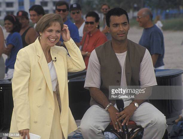 Singer Jon Secada and journalist Katie Couric attending the taping of 'The Today Show' on May 19 1994 in Miami Florida