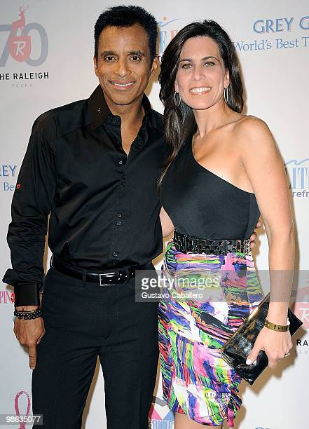 Singer Jon Secada and wife Maritere Vilar attends the Pink and Blue for Two event at Raleigh Hotel on April 22 2010 in Miami Beach Florida