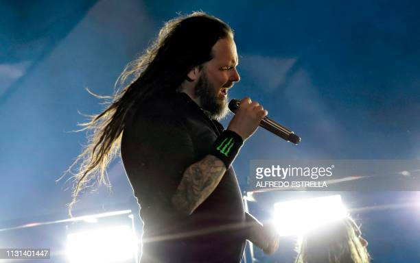 US singer Jonathan Davis of metal band Korn performs during the second day of the 'Vive Latino' music festival in Mexico City on March 17 2019