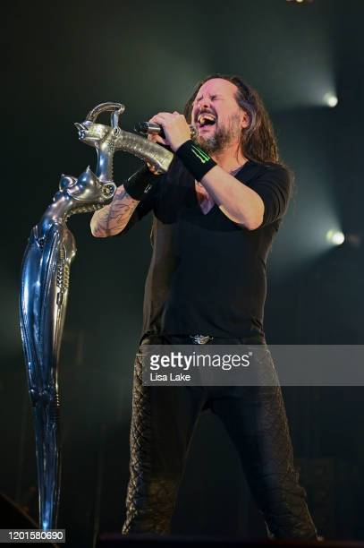 Singer Jonathan Davis of the metal band Korn performs at PPL Center on January 23 2020 in Allentown Pennsylvania