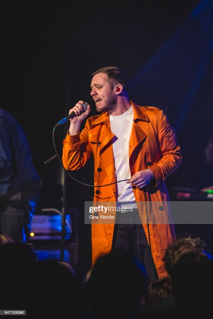 Singer Jonathan Higgs of the English band Everything Everything performs live on stage during a concert at the 'LOCATION' on April 16, 2018 in Berlin, Germany.