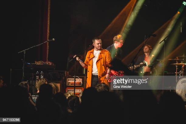 Singer Jonathan Higgs of the English band Everything Everything performs live on stage during a concert at the 'LOCATION' on April 16 2018 in Berlin...
