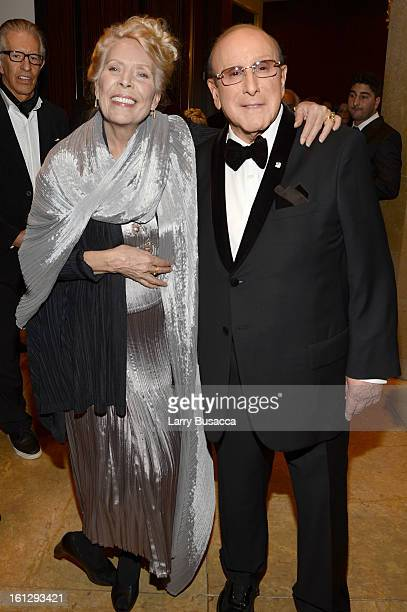 Singer Joni Mitchell and Sony Music Entertainment CCO Clive Davis arrive at the 55th Annual GRAMMY Awards PreGRAMMY Gala and Salute to Industry Icons...