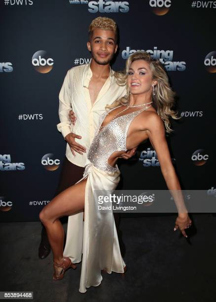 Singer Jordan Fisher and dancer Lindsay Arnold attend Dancing with the Stars season 25 at CBS Televison City on September 25 2017 in Los Angeles...