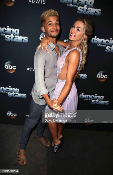 Singer Jordan Fisher and dancer Lindsay Arnold attend Dancing with the Stars season 25 at CBS Televison City on October 9 2017 in Los Angeles...