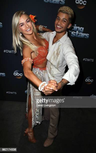 Singer Jordan Fisher and dancer Lindsay Arnold pose at Dancing with the Stars season 25 at CBS Televison City on October 16 2017 in Los Angeles...