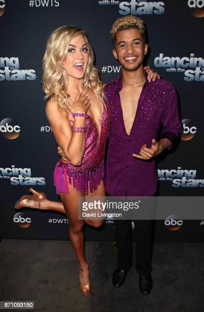 Singer Jordan Fisher and dancer Lindsay Arnold pose at Dancing with the Stars season 25 at CBS Televison City on November 6 2017 in Los Angeles...