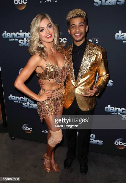 Singer Jordan Fisher and dancer Lindsay Arnold pose at Dancing with the Stars season 25 at CBS Televison City on November 13 2017 in Los Angeles...