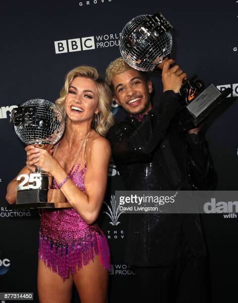 Singer Jordan Fisher and dancer Lindsay Arnold pose at 'Dancing with the Stars' season 25 finale at The Grove on November 21 2017 in Los Angeles...