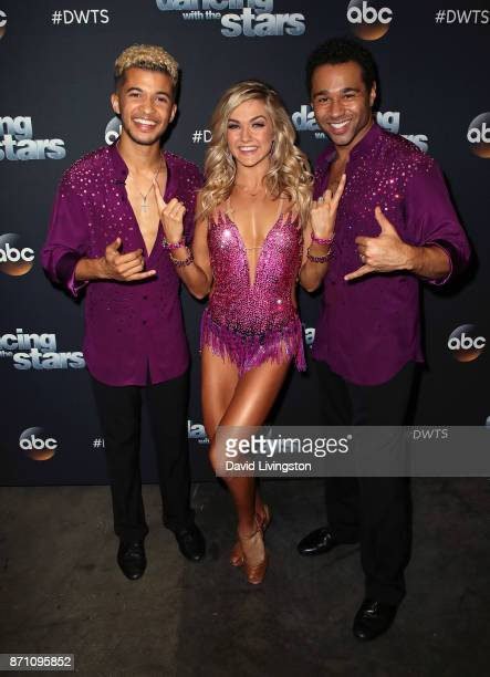Singer Jordan Fisher dancer Lindsay Arnold and actor Corbin Bleu pose at Dancing with the Stars season 25 at CBS Televison City on November 6 2017 in...