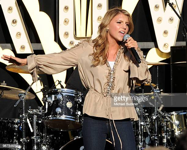 Singer Jordan Pruitt performs at the MakeAWish Foundation's World Wish Day at The Grove on April 28 2010 in Los Angeles California