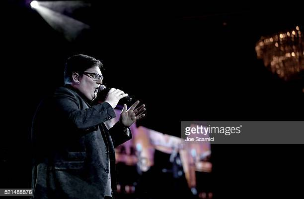 Singer Jordan Smith performs onstage during the 23rd Annual Race To Erase MS Gala at The Beverly Hilton Hotel on April 15 2016 in Beverly Hills...