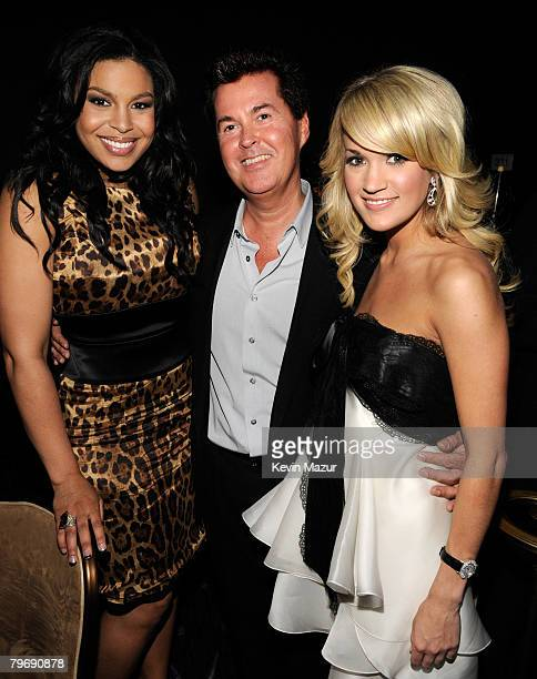 BEVERLY HILLS CA FEBRUARY 09 Singer Jordan Sparks Producer Simon Fuller and Singer Carrie Underwood during the 2008 Clive Davis PreGRAMMY party at...
