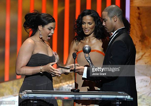 Singer Jordin Sparks accepts the Outstanding New Artist award onstage during the 39th NAACP Image Awards held at the Shrine Auditorium on February 14...