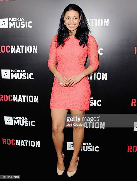 Singer Jordin Sparks arrives at Roc Nation Hosts Annual Private PreGRAMMY Brunch at Soho House on February 9 2013 in West Hollywood California