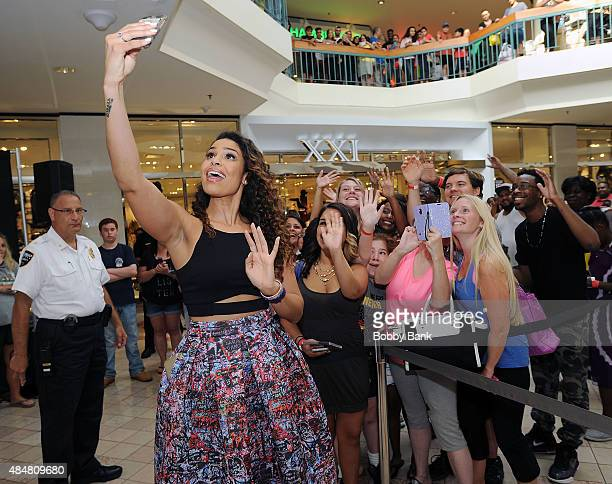 """Singer Jordin Sparks attends a meet and greet for the release of her new album """"Right Here, Right Now"""" at Woodbridge Center on August 21, 2015 in..."""