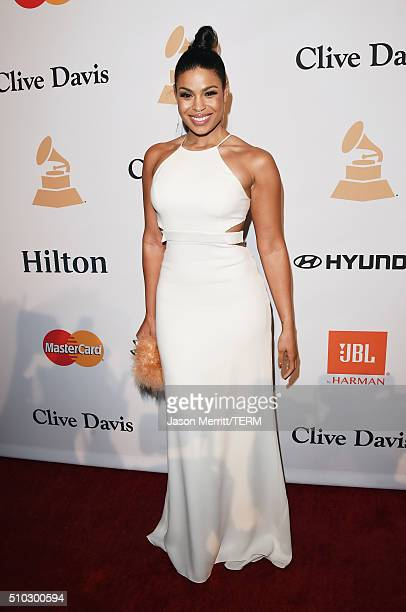 Singer Jordin Sparks attends the 2016 PreGRAMMY Gala and Salute to Industry Icons honoring Irving Azoff at The Beverly Hilton Hotel on February 14...