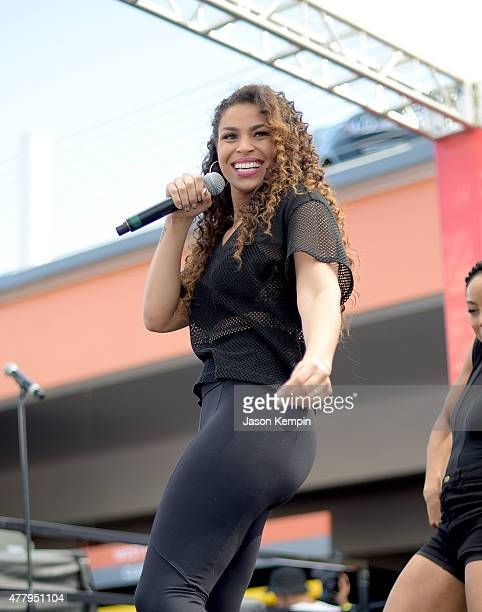 Singer Jordin Sparks performs at the 2015 BET experience kick off concert presented by Coca Cola on June 20 2015 in Los Angeles California