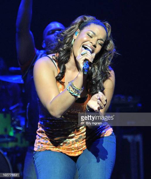 Singer Jordin Sparks performs in concert at her Battlefield Tour at Club Nokia on July 9 2010 in Los Angeles California