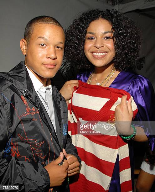 Singer Jordin Sparks right and brother PJ Sparks in the Tiger Electronics Celebrity Retreat produced by Backstage Creations at Teen Choice held at...