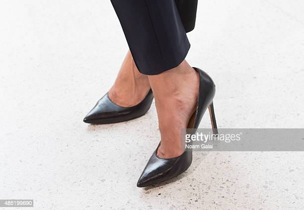 Singer Jordin Sparks shoe detail visits 'Extra' at their New York studios at HM in Times Square on August 25 2015 in New York City