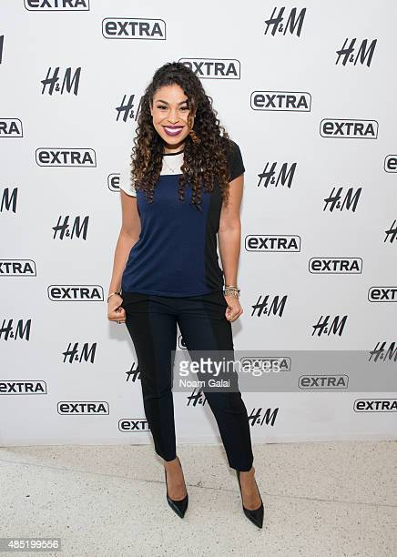 Singer Jordin Sparks visits 'Extra' at their New York studios at HM in Times Square on August 25 2015 in New York City