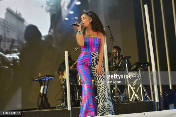 Singer Jorja Smith performs live on the West Holts stage during day three of Glastonbury Festival at Worthy Farm, Pilton on June 28, 2019 in...