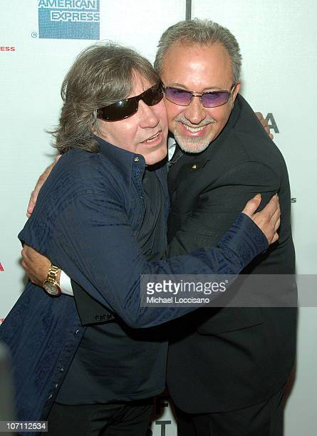 Singer Jose Feliciano and director Emilio Estefan Jr attend the Tribeca Film Festival Conversations In Cinema series for 90 Miles the Documentary at...