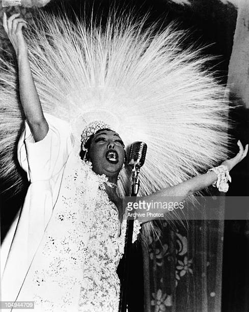 Singer Josephine Baker performing on stage circa 1950's