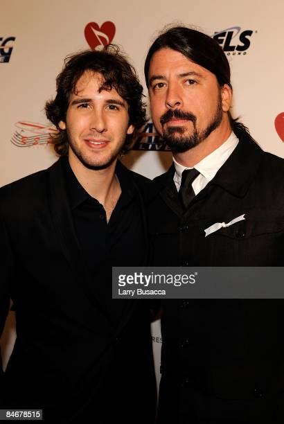Singer Josh Groban and musician Dave Grohl arrive at the 2009 MusiCares Person of the Year Tribute to Neil Diamond at the Los Angeles Convention...