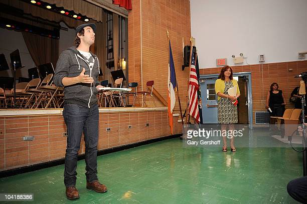 Singer Josh Groban and school principal Marie Nappi attend the launch Of Bing's Our School Needs Campaign at The Marie Curie Middle School 158 on...