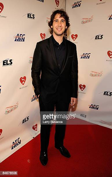 Singer Josh Groban arrives at the 2009 MusiCares Person of the Year Tribute to Neil Diamond at the Los Angeles Convention Center on February 6, 2009...