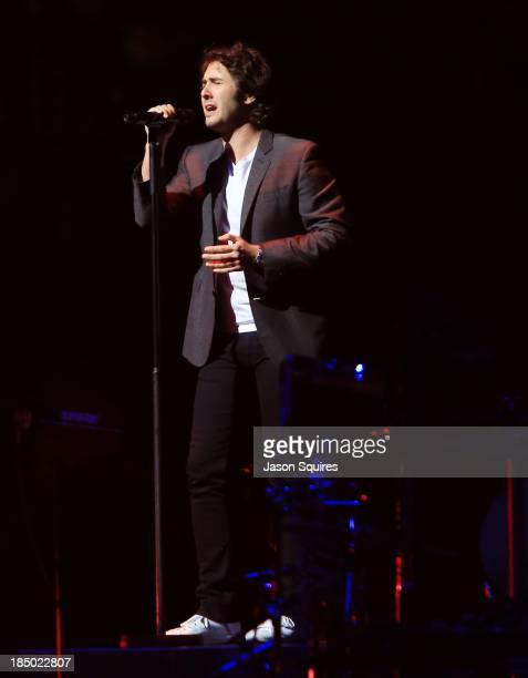 Singer Josh Groban performs at Sprint Center on October 16 2013 in Kansas City Missouri
