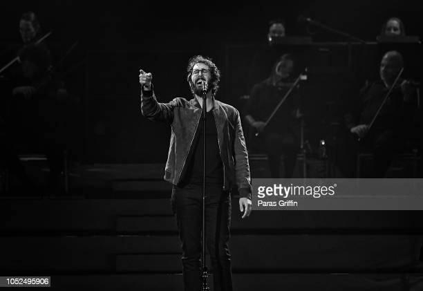 Singer Josh Groban performs onstage during his The Bridges tour opener at Infinite Energy Arena on October 18 2018 in Duluth Georgia