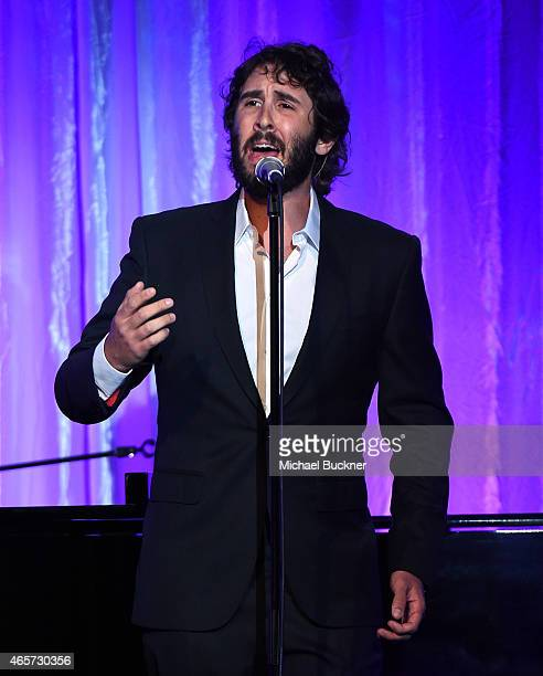 Singer Josh Groban performs onstage during the Venice Family Clinic's Silver Circle Gala at Regent Beverly Wilshire Hotel on March 9 2015 in Beverly...