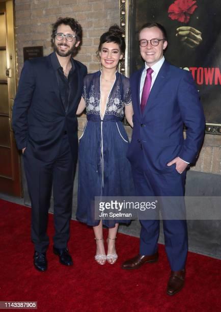 Singer Josh Groban Schuyler Helford and Chasten Glezman attend the Hadestown opening night at Walter Kerr Theatre on April 17 2019 in New York City
