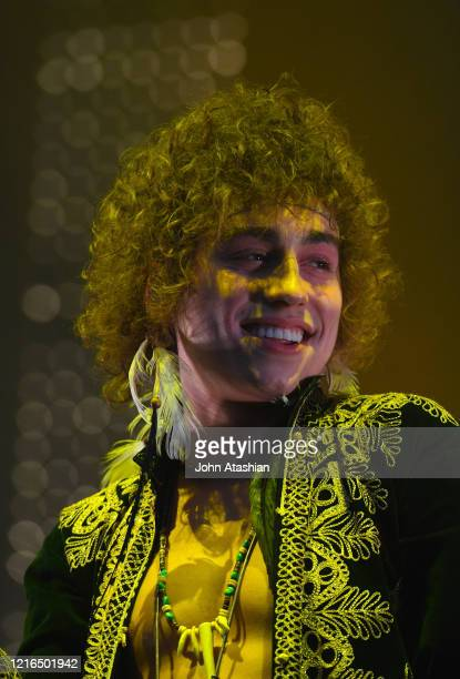 """Singer Josh Kiszka is shown performing stage during a """"live"""" concert appearance with Greta Van Fleet on May 24, 2019."""
