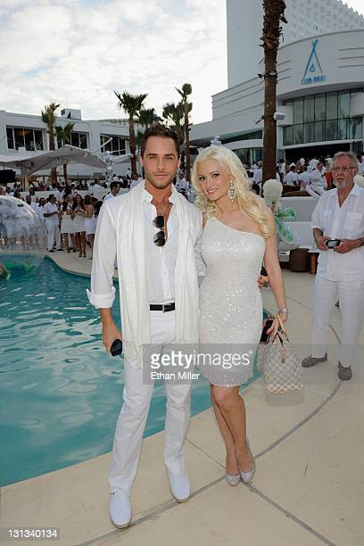 Singer Josh Strickland and model and television personality Holly Madison attend the Nikki Beach Grand Opening White Party at Tropicana Las Vegas on...