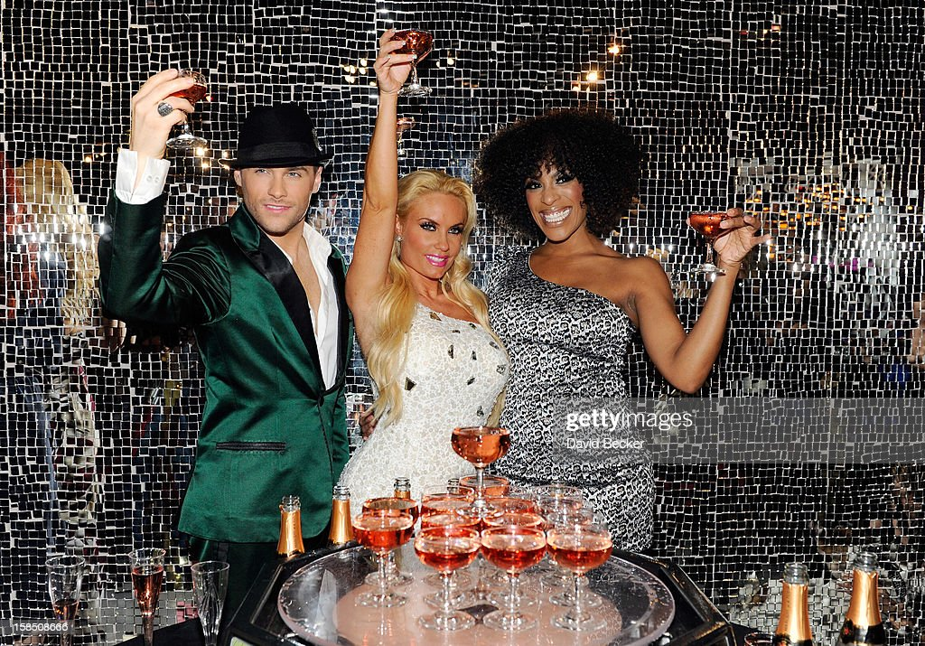 Singer Josh Strickland, television personality Coco Austin and singer Cheaza appear after Austin's opening night performance in 'Peepshow' at the Planet Hollywood Resort and Casino on December 17, 2012 in Las Vegas, Nevada.