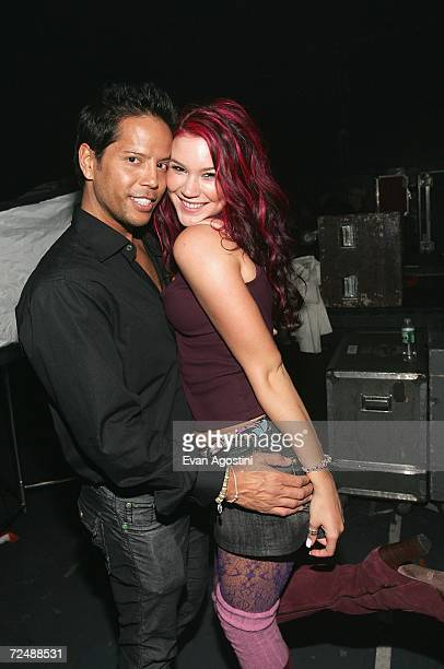 Singer Joss Stone poses with hairstylist Brian Magallones at The Black Ball presented by Conde Nast Media Group and hosted by Alicia Keys and Iman to...