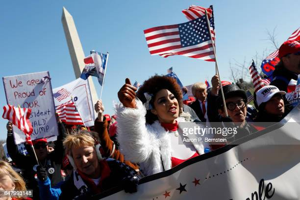 Singer Joy Villa joins demonstrators near the Washington Monument during the March4Trump on March 4 2017 in Washington DC Supporters gathered in...