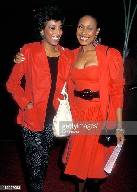 Singer Joyce Vincent Wilson and actress Telma Hopkins attend the In the Mood Hollywood Premiere on September 16 1987 at the Mann's Chinese Theatre in...