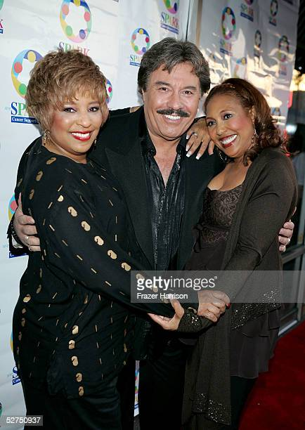 Singer Joyce Vincent Wilson singer Tony Orlando and actress Telma Hopkins arrive at the WeSPARKLE Variety Hour to benefit weSPARK Cancer Support...