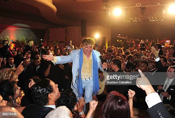 Singer Juan Gabriel performs at Sammy Sosa's birthday party at Fontainebleau Miami Beach on November 14 2009 in Miami Beach Florida