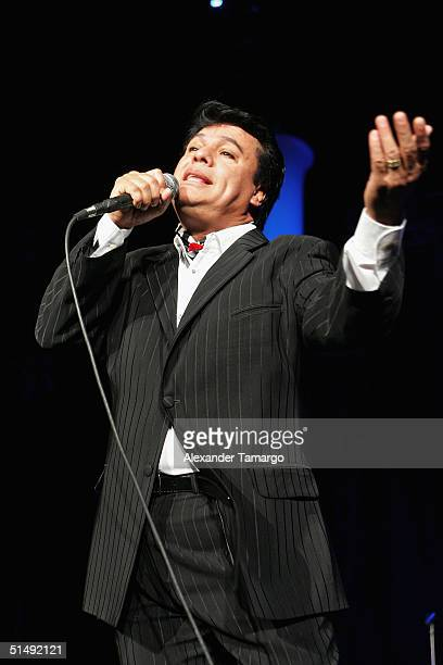 Singer Juan Gabriel performs live on stage at The American Airlines Arena on October 17 2004 in Miami Florida