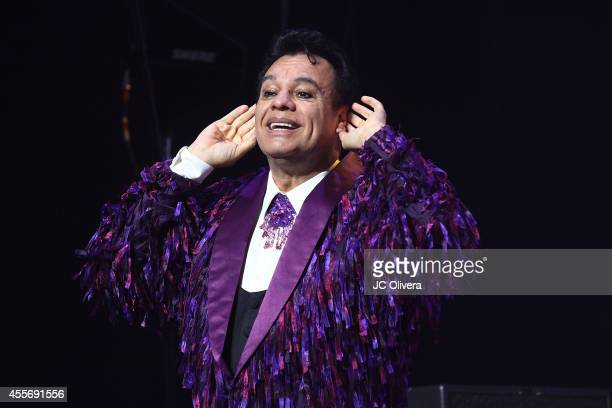 Singer Juan Gabriel performs on stage at Nokia Theatre LA Live on September 18 2014 in Los Angeles California