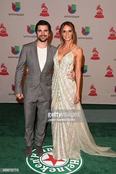 Singer Juanes and model Karen Martinez attend the 15th Annual Latin GRAMMY Awards at the MGM Grand Garden Arena on November 20 2014 in Las Vegas...