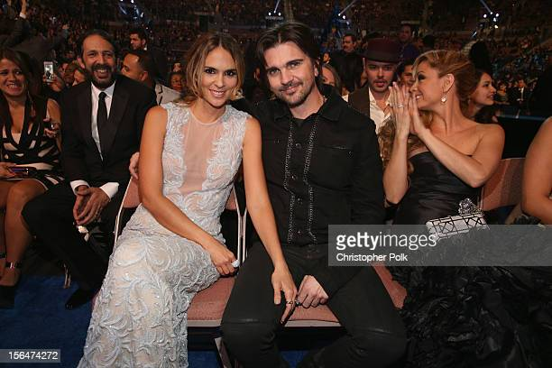 Singer Juanes and model Karen Martinez pose in the audience at the 13th annual Latin GRAMMY Awards held at the Mandalay Bay Events Center on November...