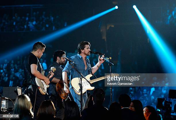 Singer Juanes performs 'Juntos' onstage during The 57th Annual GRAMMY Awards at the at the STAPLES Center on February 8 2015 in Los Angeles California